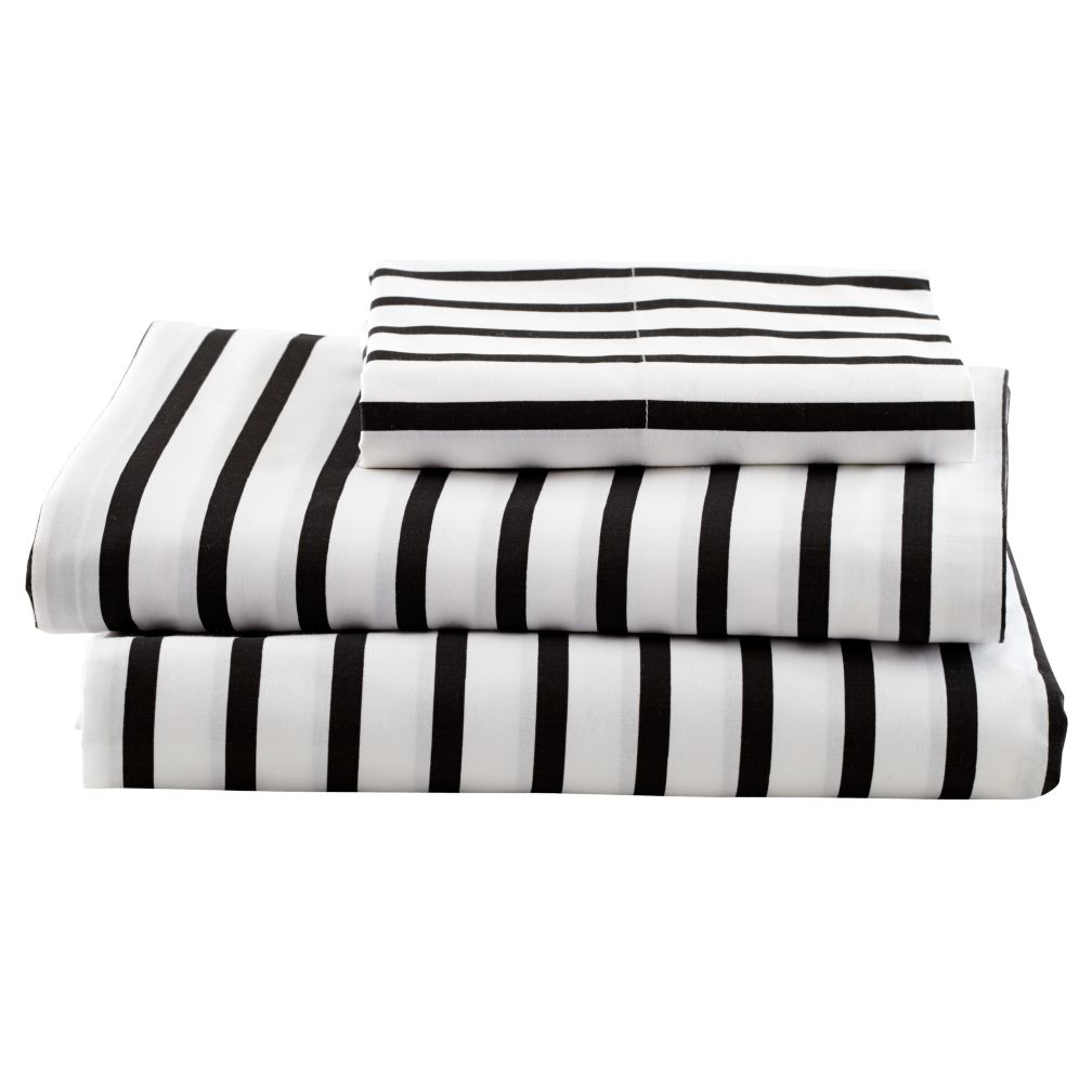 Black and white striped bed sheets - Organic Noir Stripe Twin Sheet Set