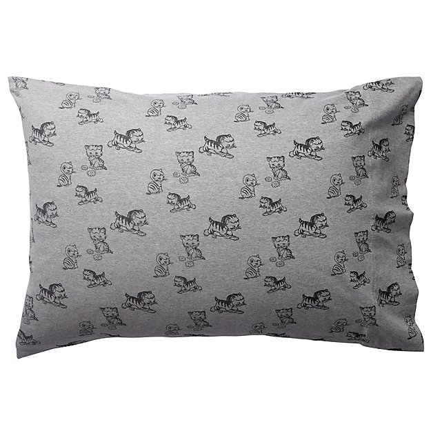 Shy Little Kitten Grey Pillowcase