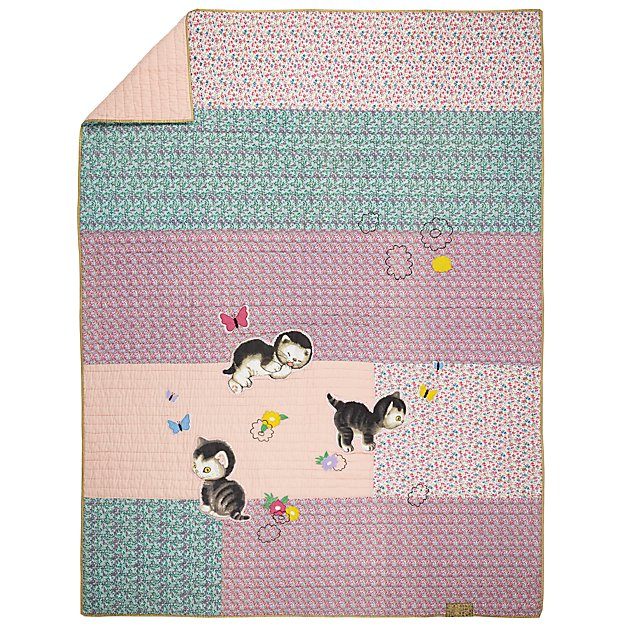 Full-Queen Shy Little Kitten Quilt