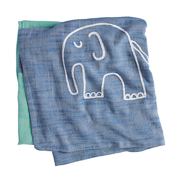 Mod Menagerie Blanket (Blue Elephant)