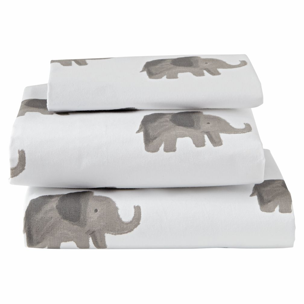 Organic Wild Excursion Elephant Toddler Sheet Set