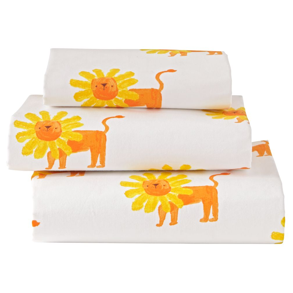 Organic Orange Lion Wild Excursion Toddler Sheets