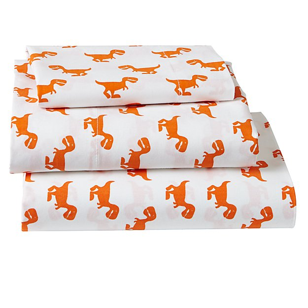 Organic Little Prints Orange Dinosaur Toddler Sheet Set