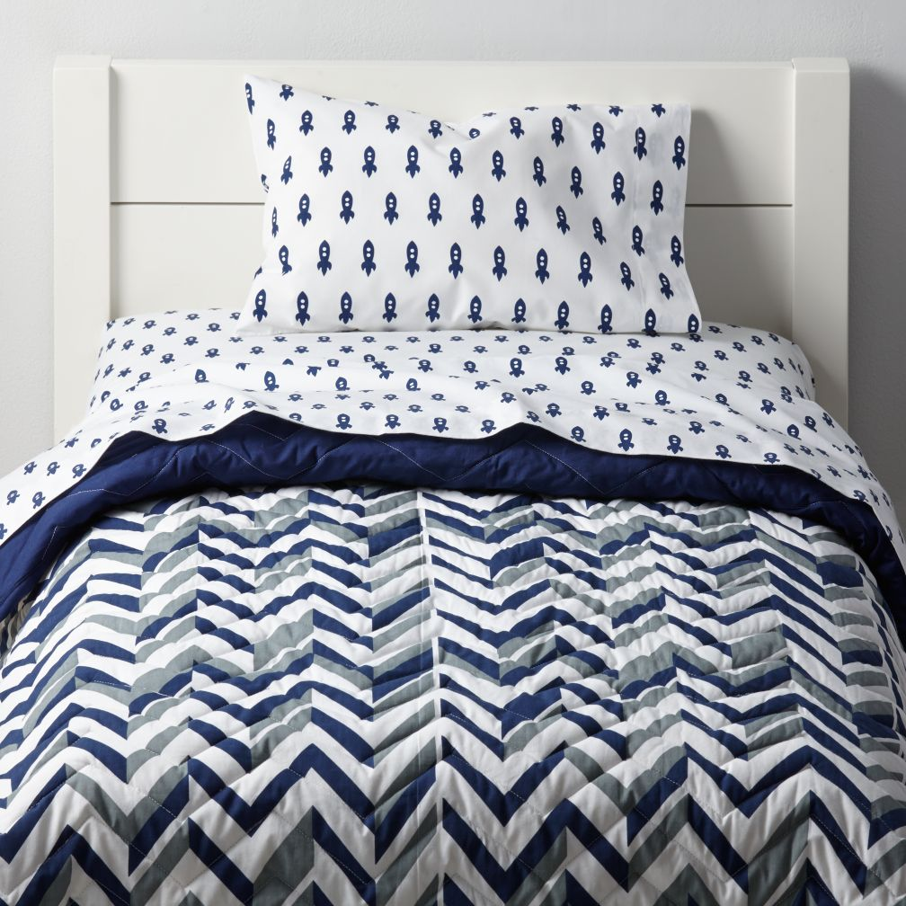 little prints toddler bedding blue rocket the land of nod