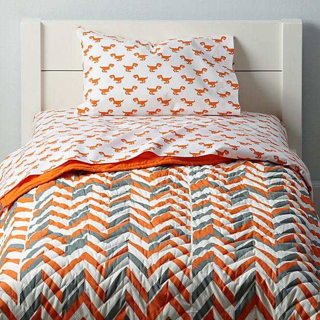 Little Prints Toddler Bedding (Orange Dino)