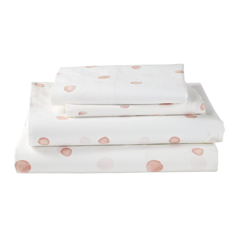 Organic Washed Dot Queen Sheet Set