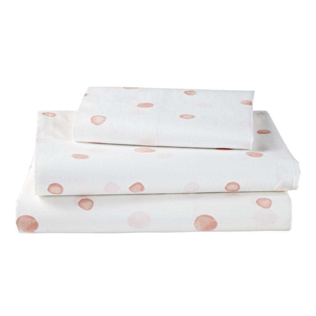 Organic Washed Dot Twin Sheet Set