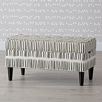 pin it black and white upholstered storage bench
