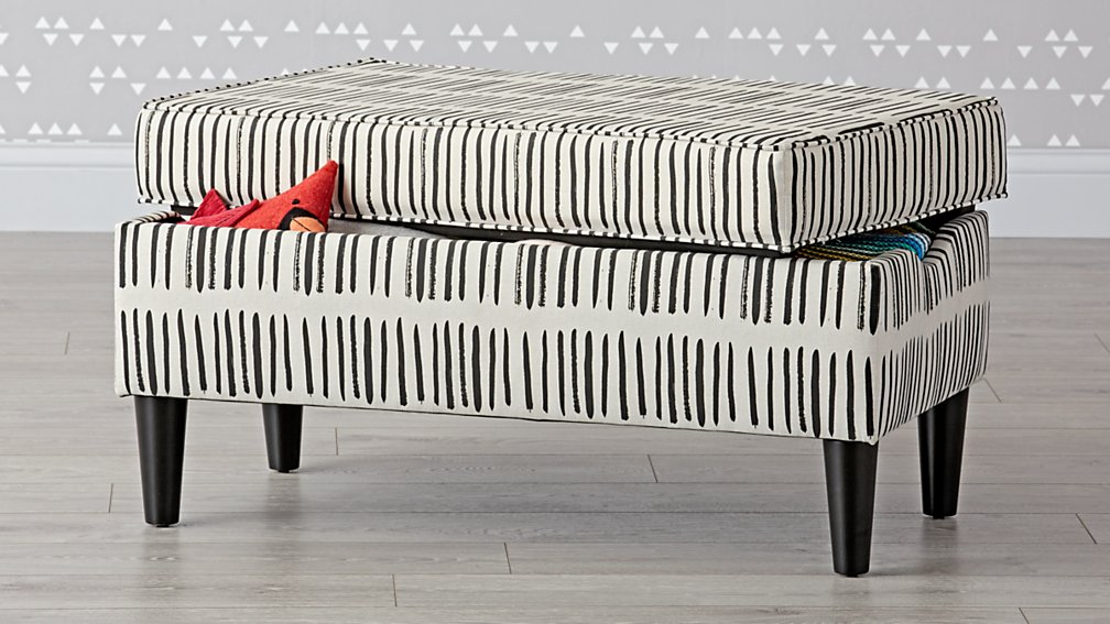 Black and White Upholstered Storage Bench