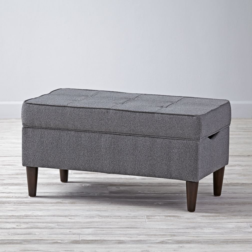 Grey tufted storage bench the land of nod Gray storage bench