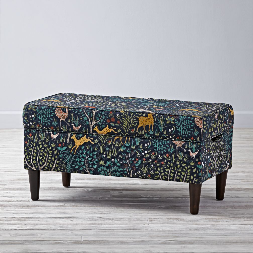 woodland patterned storage bench the land of nod - Kids Room Storage Bench