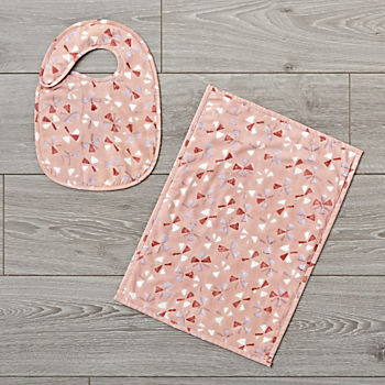 Hand Blocked Printed Pink Bib and Burp Cloth Set