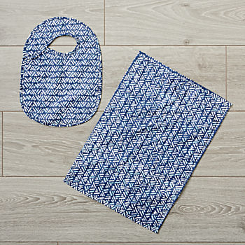 Hand Blocked Printed Navy Bib and Burp Cloth Set