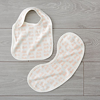Organic Daily Sketch Pink Bib and Burp Cloth Set