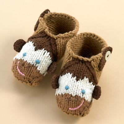 0-3 mos. Brown Monkey Booties