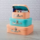 Bon Voyage Peach and Teal Suitcase Set