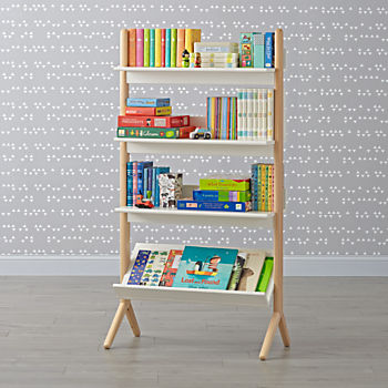 Danish Modern White & Natural Tall Bookcase
