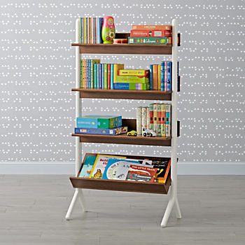Danish Modern Walnut & White Tall Bookcase
