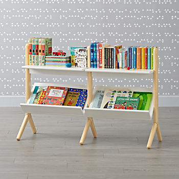 Danish Modern White & Natural Wide Bookcase
