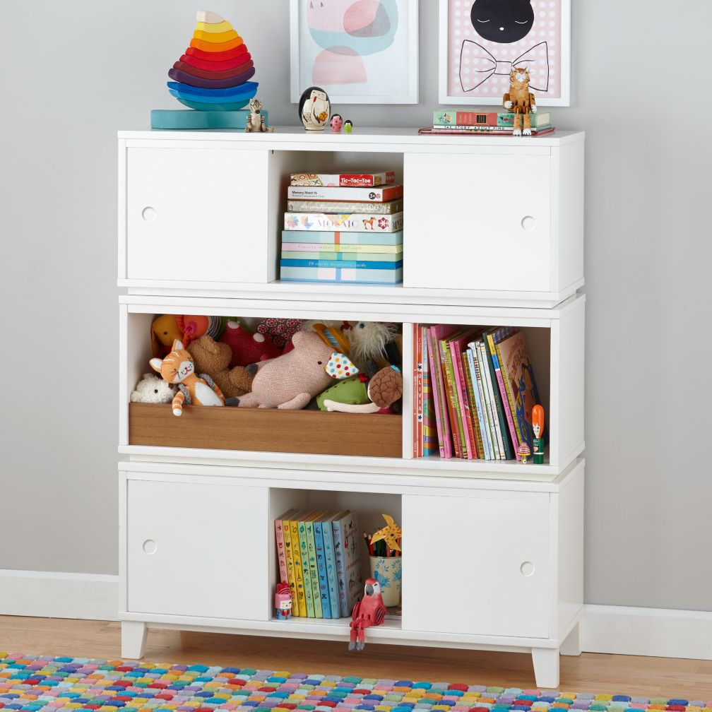 Superior District Modern Storage Bench Bookcase With Bin (White) | The Land Of Nod