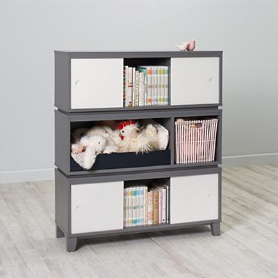 District Storage Bench/Bookcase (Grey)