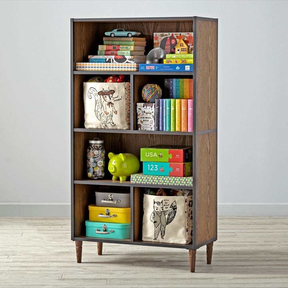fulton street brown tall bookcase the land of nod. Black Bedroom Furniture Sets. Home Design Ideas