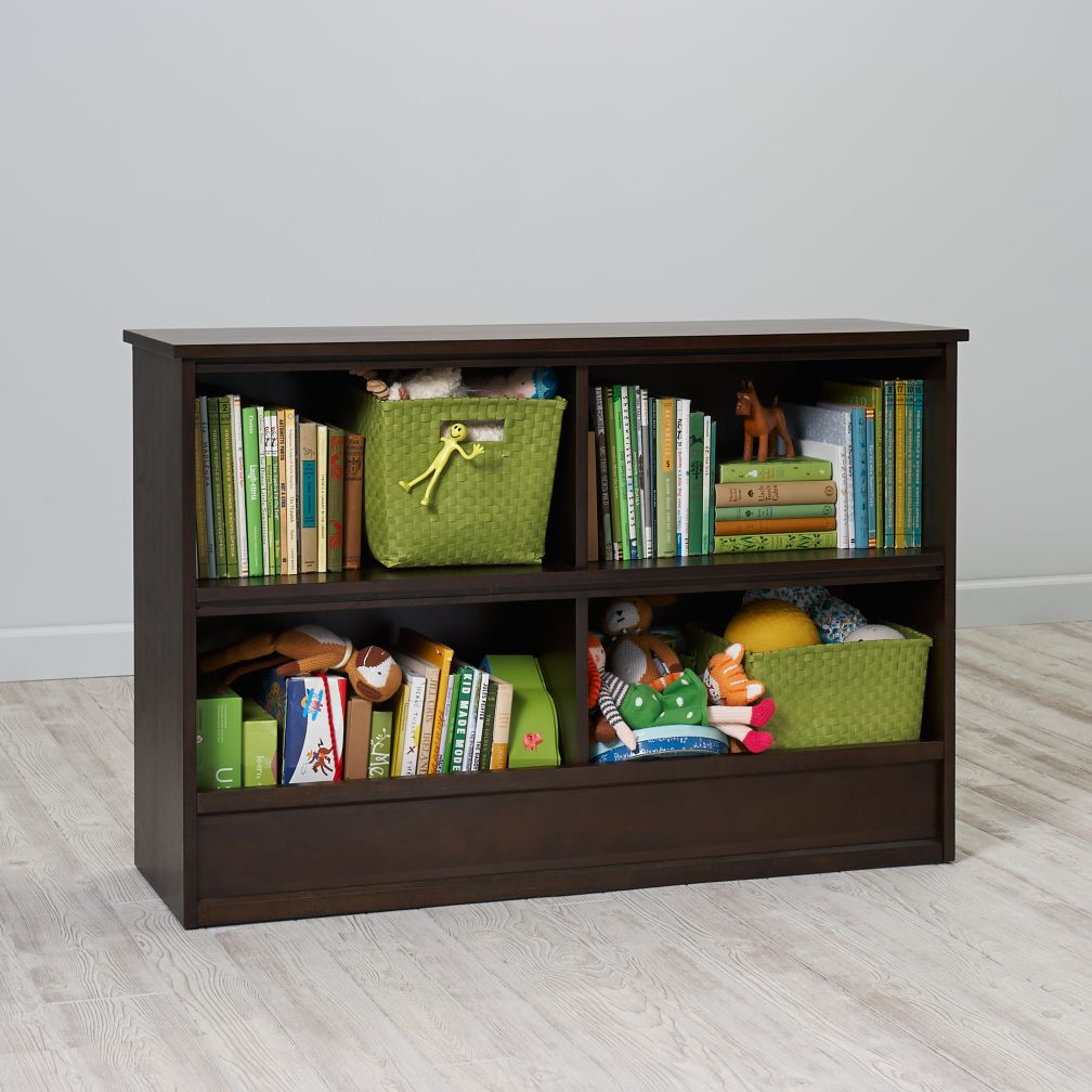 32 horizon bookcase with bins java the land of nod. Black Bedroom Furniture Sets. Home Design Ideas