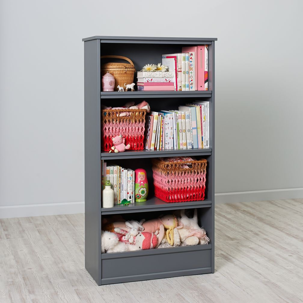60 horizon bookcase with bins grey the land of nod. Black Bedroom Furniture Sets. Home Design Ideas