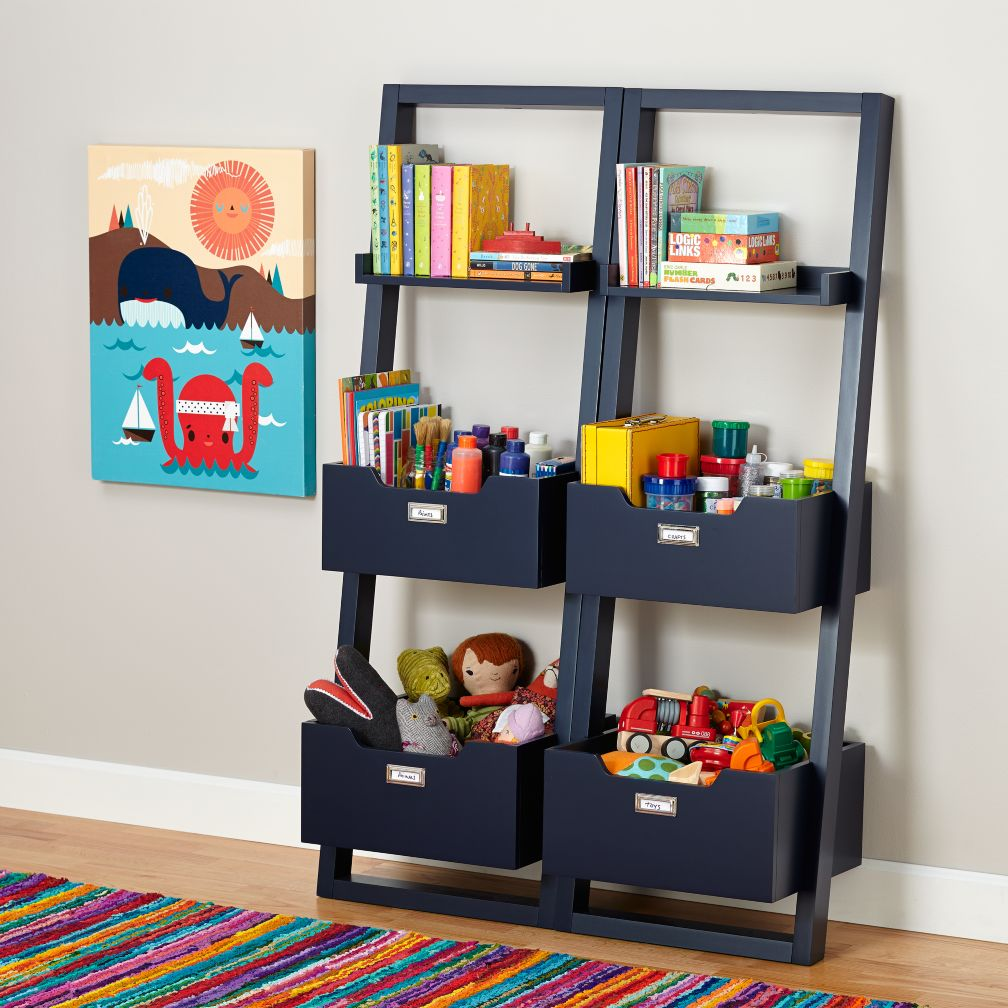 little sloane leaning bookcase midnight blue the land of nod. Black Bedroom Furniture Sets. Home Design Ideas