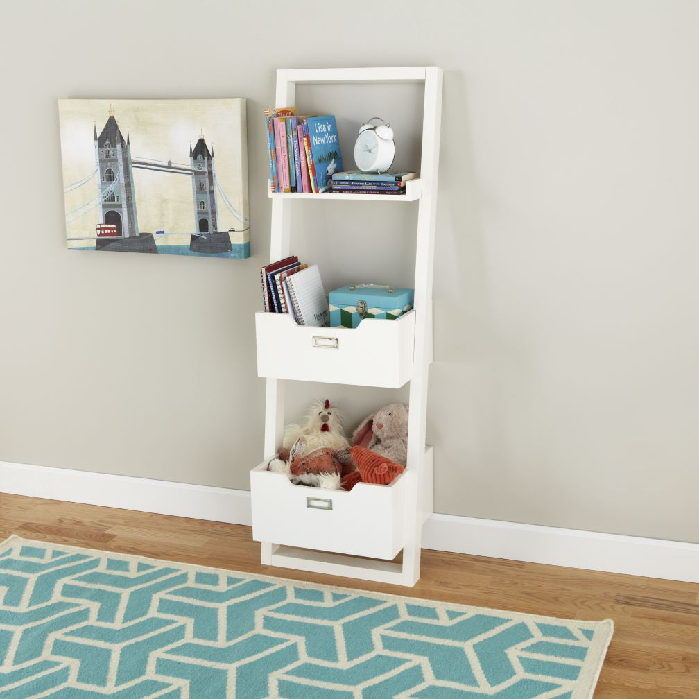 Kids Desk Kids White Leaning Wall Bookcase The Land Of Nod