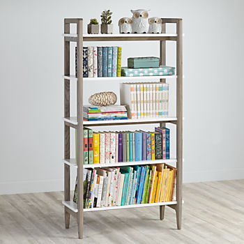 Wrightwood Grey Stain and White Bookcase