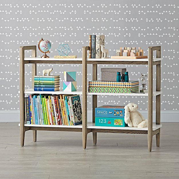 Wrightwood Grey Stain and White Wide Bookcase