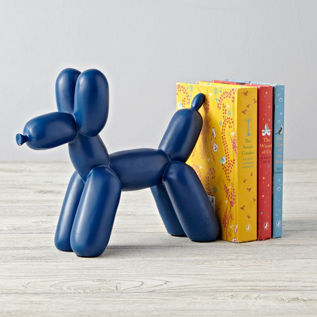 Balloon Animal Blue Dog Bookend