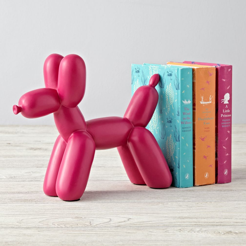Balloon Animal Pink Dog Bookend