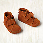 Size 1 (0-3 mos.) Brown Front Strap Fringe Bootie