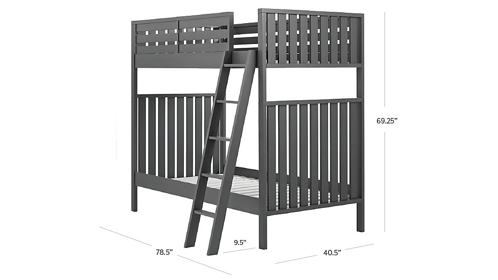 cargo charcoal twin bunk bed | the land of nod