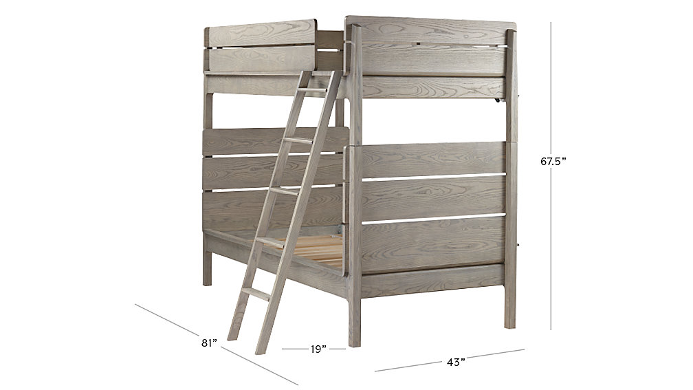 wrightwood grey stain twin over twin bunk bed | the land of nod
