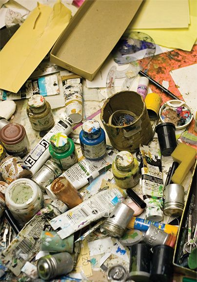 used paint and paint brushes in Charley Harper's studio