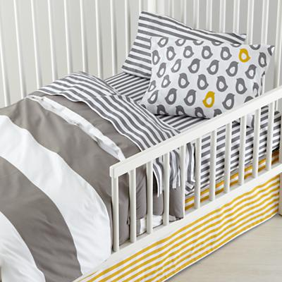 Not a Peep Toddler Bedding (Grey Stripe)