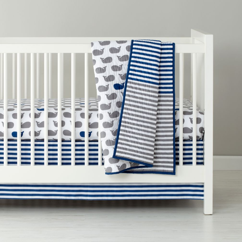 baby bedding grey blue whale crib bedding  the land of nod -