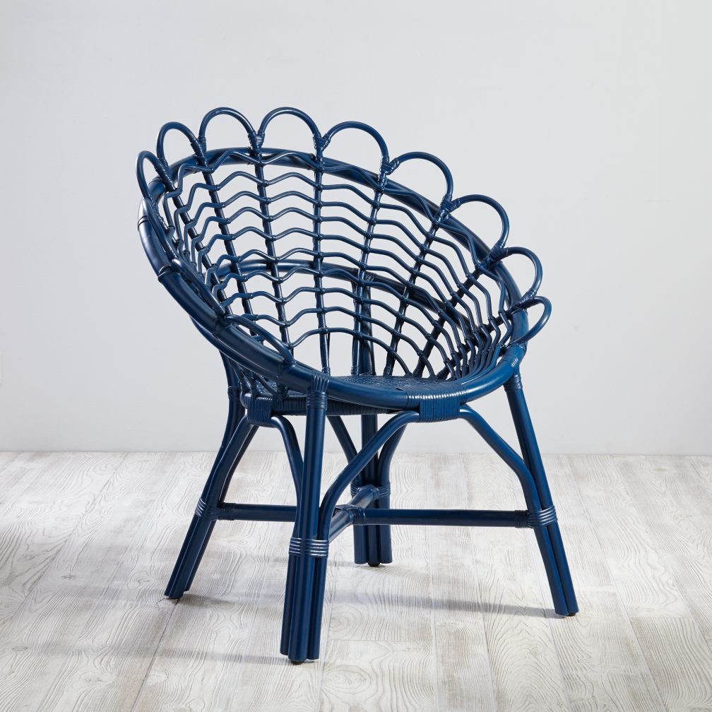 Antoinette Rattan Navy Kids Chair