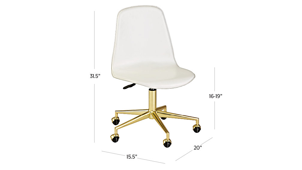 class act white u0026 gold desk chair dimensions