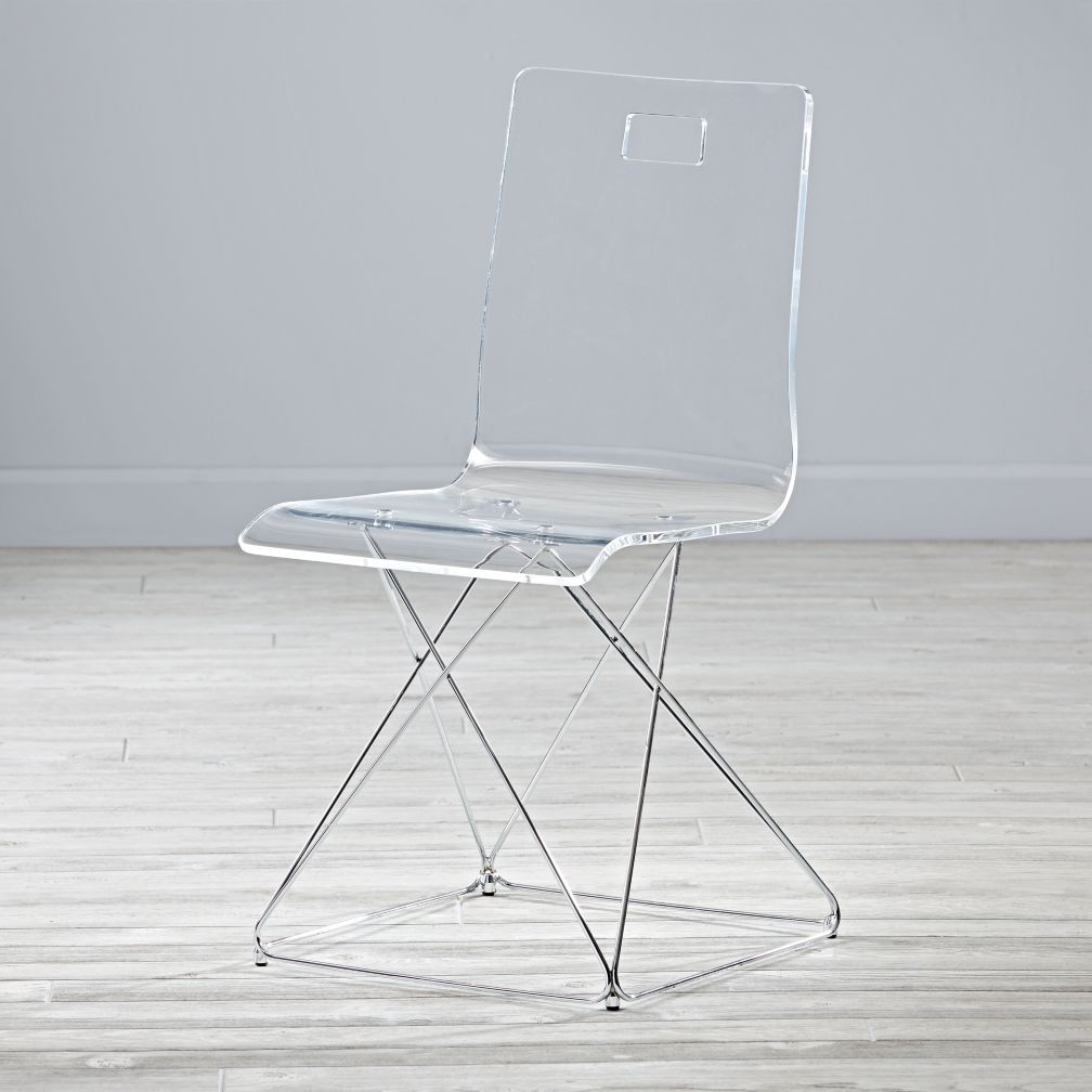 Now you see it acrylic and silver desk chair the land of nod for Plexiglas beistelltisch 3er set