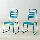 "Set of 2 Homeroom Teal Kids ChairsFloor to Seat: 14.5"" H"