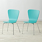 "Set of 2 Little Felix Azure Kids ChairsFloor to Seat: 14"" H"