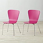 "Set of 2 Little Felix Fuchsia Kids ChairsFloor to Seat: 14"" H"