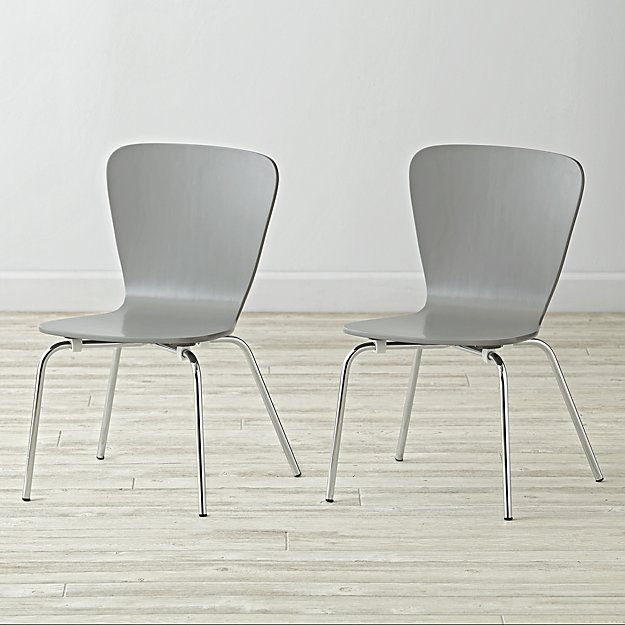 Set of 2 Little Felix Grey Kids Chairs