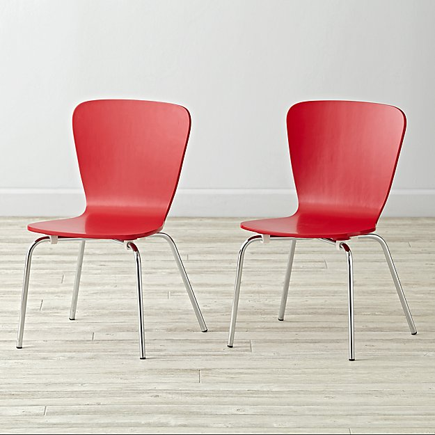 Set of 2 Little Felix Red Kids Chairs