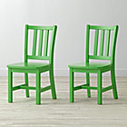 "Set of 2 Parker Bright Green Kids ChairsFloor to Seat: 14"" H"