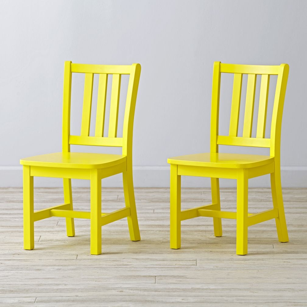 Set of 2 Parker Bright Yellow Kids Chairs
